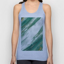 Emerald Jade Green Gold Accented Painted Marble Unisex Tank Top
