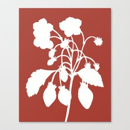 Wild Strawberry in Ruby Red - Original Floral Botanical Papercut Design Canvas Print