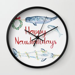 Happy Narwhalidays Wall Clock