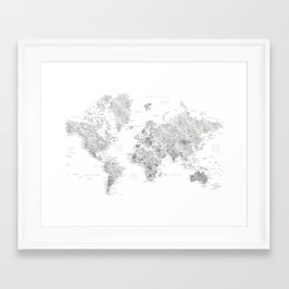 Marble world map in light grey and brown Framed Art Print