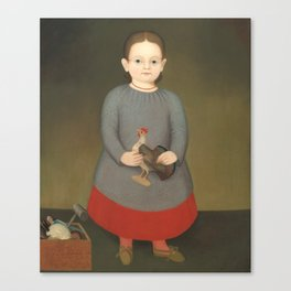 Girl with Toy Rooster Vintage Painting Canvas Print
