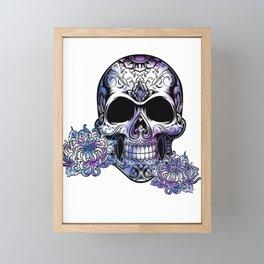 Purple Day Of The Dead Skull Framed Mini Art Print