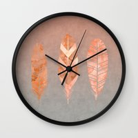 feathers Wall Clocks featuring Feathers by LebensART