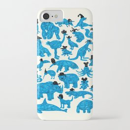 Blue Animals Black Hats iPhone Case
