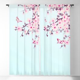 Cherry Blossoms Ladscape Blackout Curtain