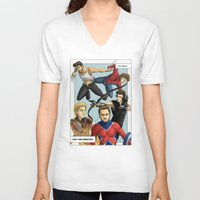 superheroes V-neck T-shirts featuring 1D superheroes by Aki-anyway