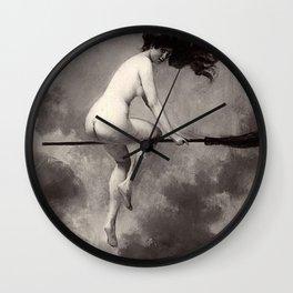 Witch On Broom Albert Joseph Penot Wall Clock