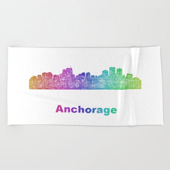 Rainbow Anchorage skyline Beach Towel