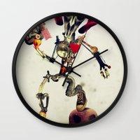 invader zim Wall Clocks featuring Invader Skull by Ali GULEC