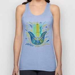 Hamsa Hand – Lime, Turquoise & Navy Palette Unisex Tank Top