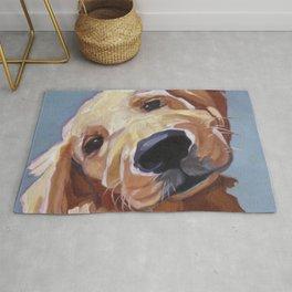 Golden Retriever Puppy Original Oil Painting Rug