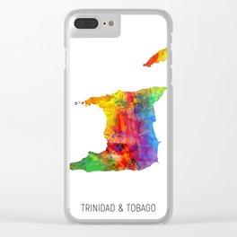 Trinidad & Tobago Watercolor Map Clear iPhone Case