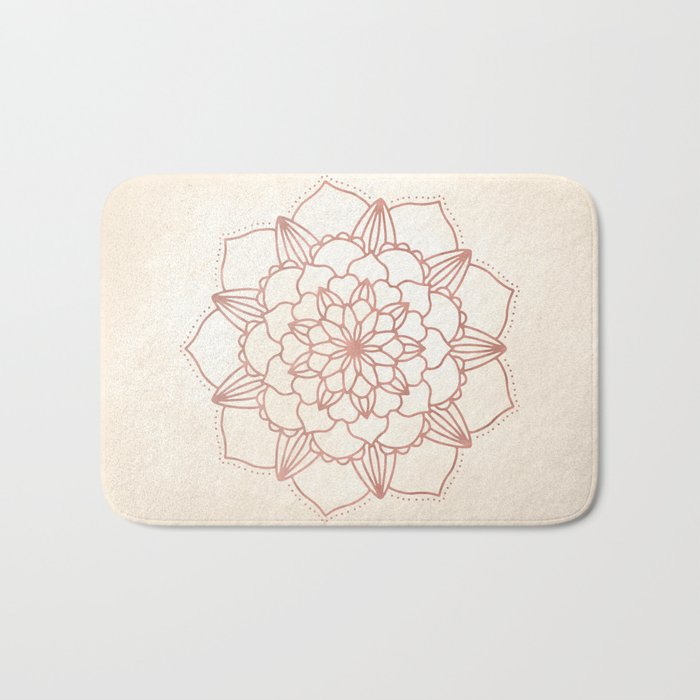 Mandala Bloom Rose Gold on Cream Bath Mat