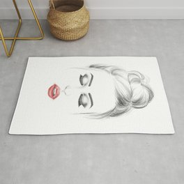 Minimalist fashion illustration model face Rug