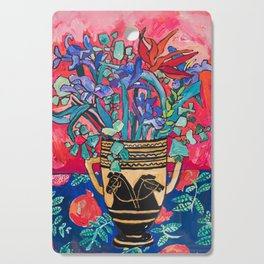 Persephone Painting - Bouquet of Iris and Strelitzia Flowers in Greek Horse Vase Against Coral Pink Cutting Board