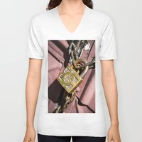 doors V-neck T-shirts featuring Chained doors by davehare