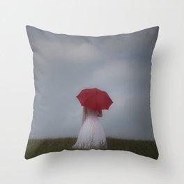 Red Parasol Throw Pillow