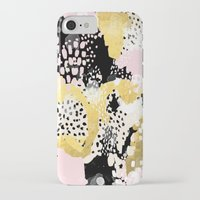 coachella iPhone & iPod Cases featuring Simone - abstract painting gold foil trendy hipster pastel pink modern trendy colors decor college by CharlotteWinter