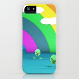 Rainbow Sky and Trees 3D Illustration Render iPhone Case