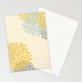Floral Prints and Colorful Stripes, Yellow, Gray, Aqua, Colour Prints Stationery Cards