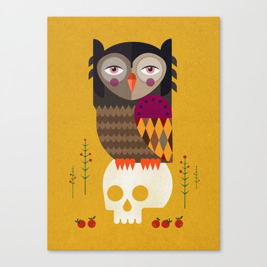 Owl with Skull Canvas Print