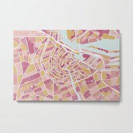 Amsterdam map, Holland Metal Print