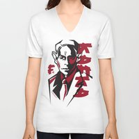 kafka V-neck T-shirts featuring Kafka portrait in Red & Black by aygeartist