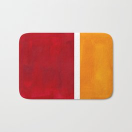 Burnt Red Yellow Ochre Mid Century Modern Abstract Minimalist Rothko Color Field Squares Bath Mat