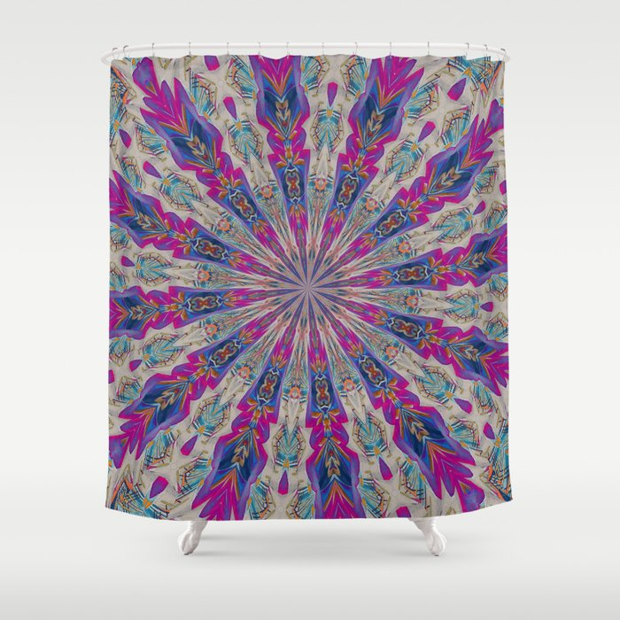 Totem Kaleidoscope In Purple Red And Jade Shower Curtain