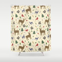 Winter Forest Animals Shower Curtain