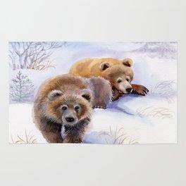Brown Bears in Winter Rug