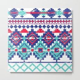 Red&Blue Tiles Metal Print