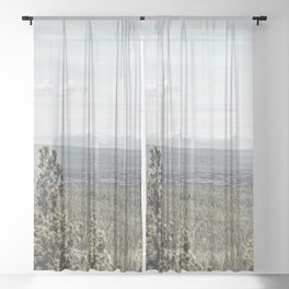 True Grain // Gritty Desaturated Detail of the Oregon Coast Mountains and Woods Sheer Curtain