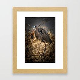 Heron and the mole Framed Art Print