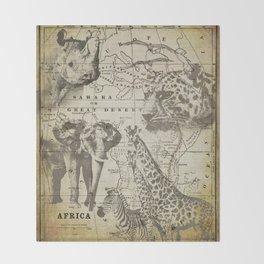 Out of Africa vintage wildlife art Throw Blanket