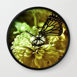 Butterfly on Flower - Color Wall Clock