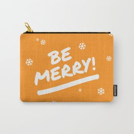 Bright Orange Be Merry Christmas Snowflakes Carry-All Pouch