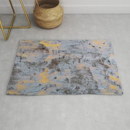 Rusty abstract metal with turquoise, orange and brown colors Rug