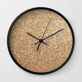 Copper Rose Gold Metallic Glitter Wall Clock