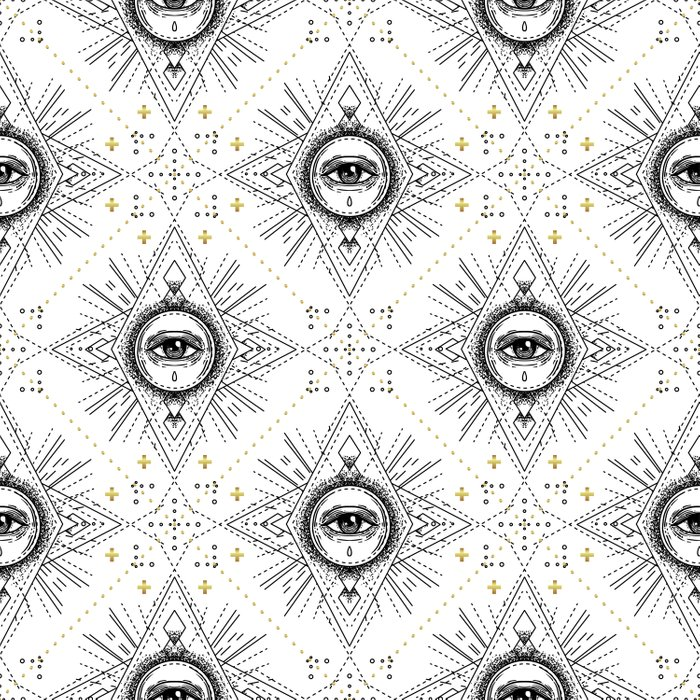 Sacred geometry seamless pattern with all seeing eye over white. Comforters