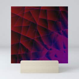 Abstract strict pattern of burgundy and overlapping purple triangles and irregularly shaped lines. Mini Art Print