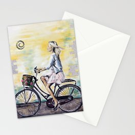 Dutch woman on bike Stationery Cards