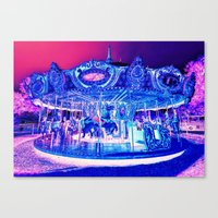 carousel Canvas Prints featuring Carousel Merry-G0-Round Pink Purple by WhimsyRomance&Fun