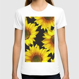 Large Sunflowers on a black background - #Society6 #buyart T-shirt
