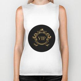 VIP In Black and Goldtone Biker Tank