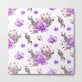 Lavender purple pink watercolor modern floral pattern Metal Print
