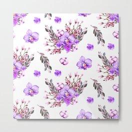 Lavender purple pink watercolor modern floral pattern Metal Print
