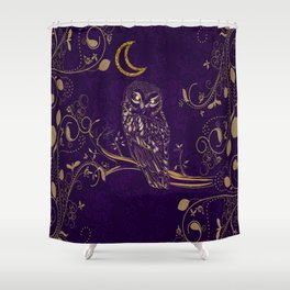 Golden Owl Crescent Moon Shower Curtain