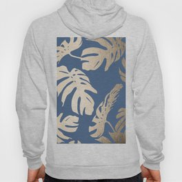 Simply Tropical Palm Leaves White Gold Sands on Aegean Blue Hoody