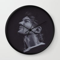 louis tomlinson Wall Clocks featuring Louis Tomlinson V by Jen Eva
